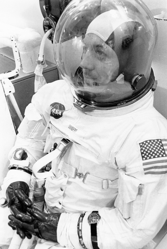 """A13_0029 Jack Swigert Undergoing Spacesuit Checks"" by SDASM Archives"